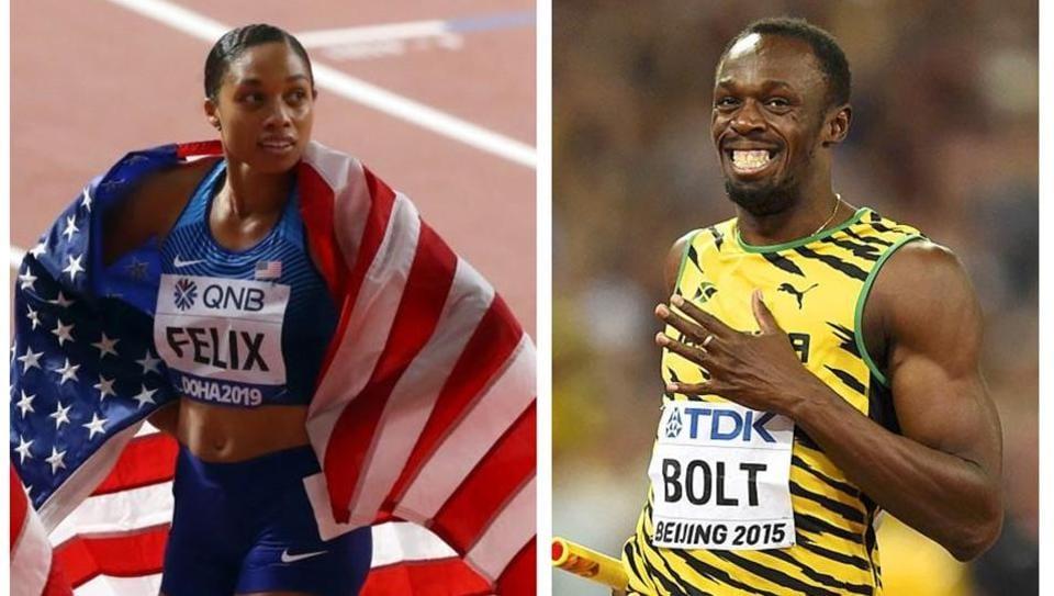Allyson Felix breaks Usain Bolt's World Championships gold medal record.