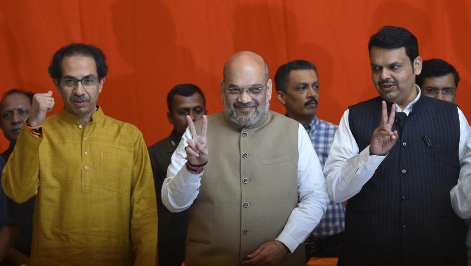 Shiv Sena president Uddhav Thackeray along with home minister Amit Shah and Maharashtra chief minister Devendra Fadnavis in Mumbai  in February 2019.