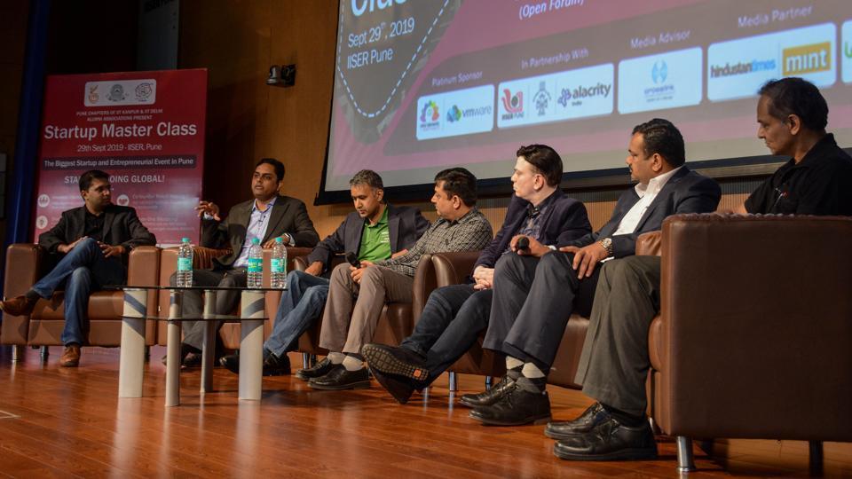 (From left) Darshan Doshi, Amit Sharma, Rohit Toshniwal, Tarak Shah, Satish Gupta, Ravi Ranjan Chaudhary and Rajiv Jorapur during the panel discussion on the rise of startup corporate collaboration at Startup Master Class, IISER, Pashan, on Sunday.l