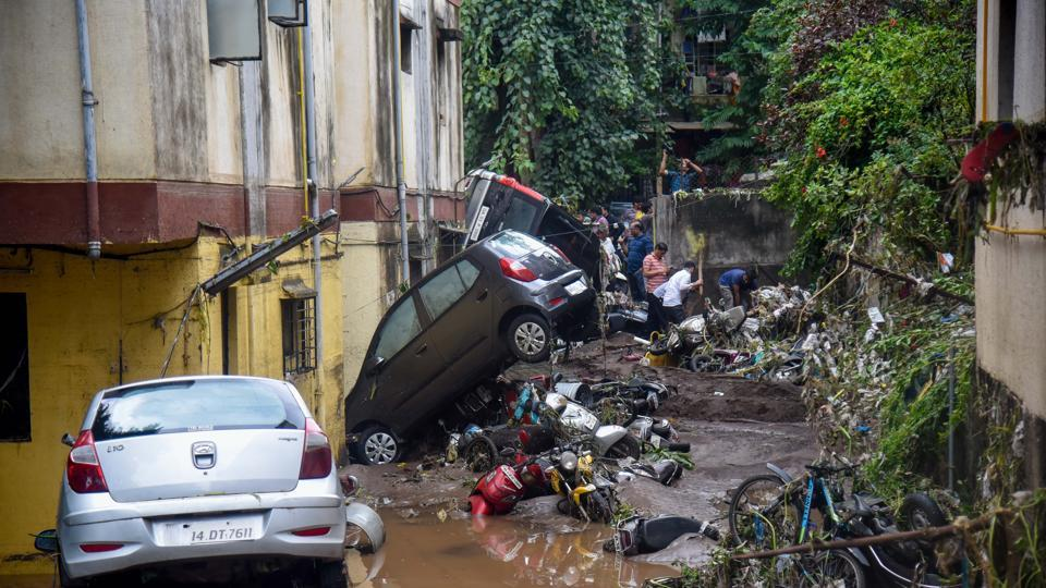 Aftermath of flash floods in Gururaj society, Satara road in Pune, on Thursday.