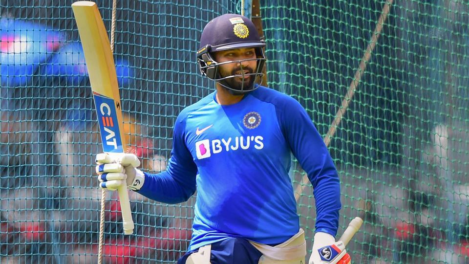 Rohit Sharma during a practice session.