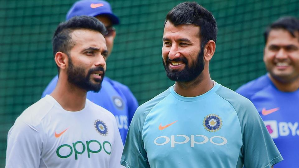 Indian cricket team test players Ajinkya Rahane and Cheteshwar Pujara during a practice session.