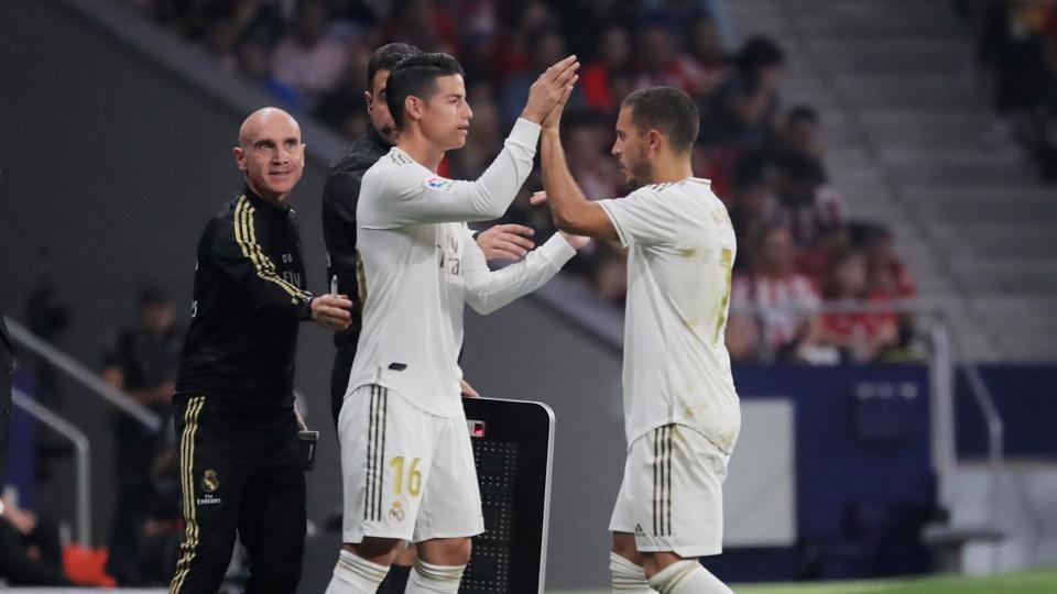 Real Madrid's James Rodriguez comes on as a substitute to replace Eden Hazard.