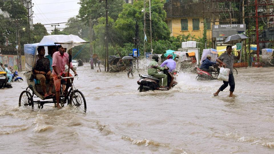 A view of waterlogging near JP Roundabout following heavy rainfall in Patna, Bihar.