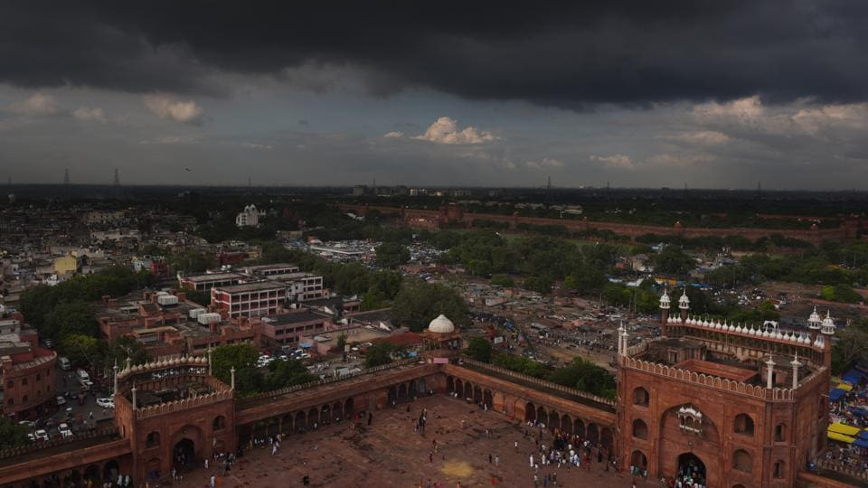 Rain clouds over the Jama Masjid in New Delhi,.
