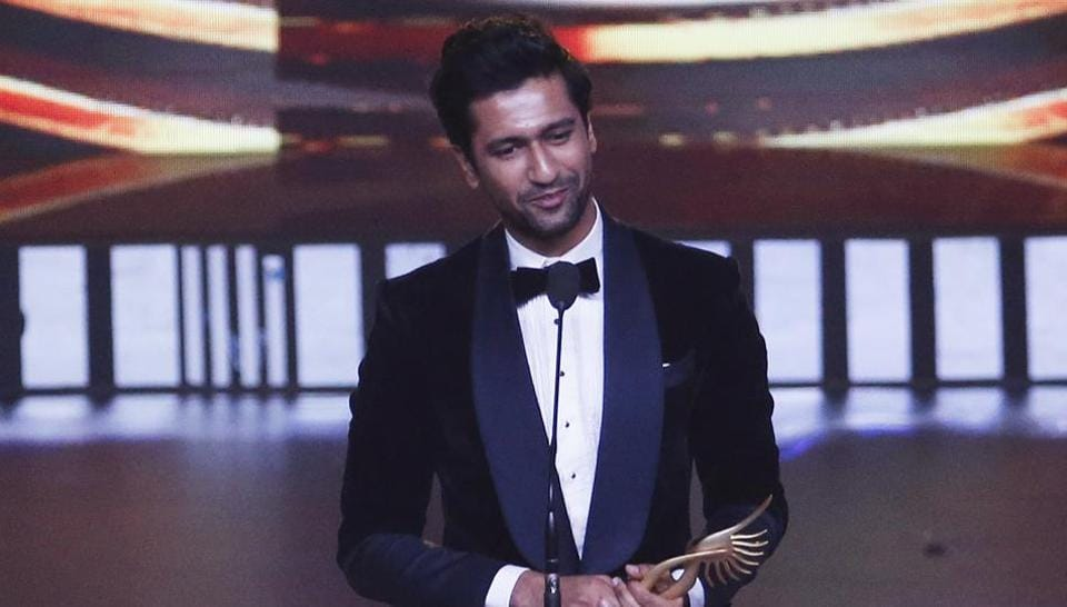 Bollywood actor Vicky Kaushal speaks after receives the award for best male actor in supporting role during the 20th International Indian Film Academy (IIFA) awards ceremony in Mumbai, India.