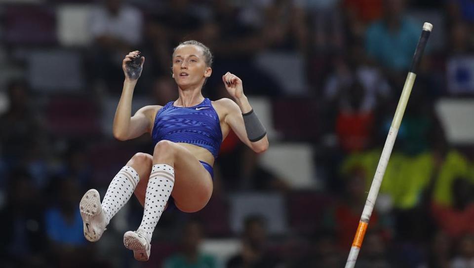 Neutral athlete Anzhelika Sidorova in action