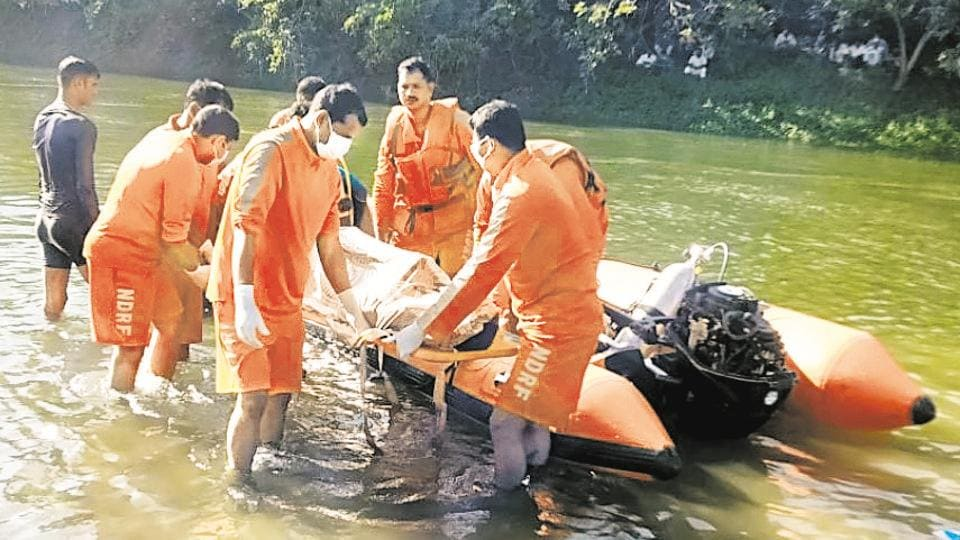 NDRF team seen conducting the rescue operation. The boys were related and belonged to a farmer family in Shingave Pargaon village.