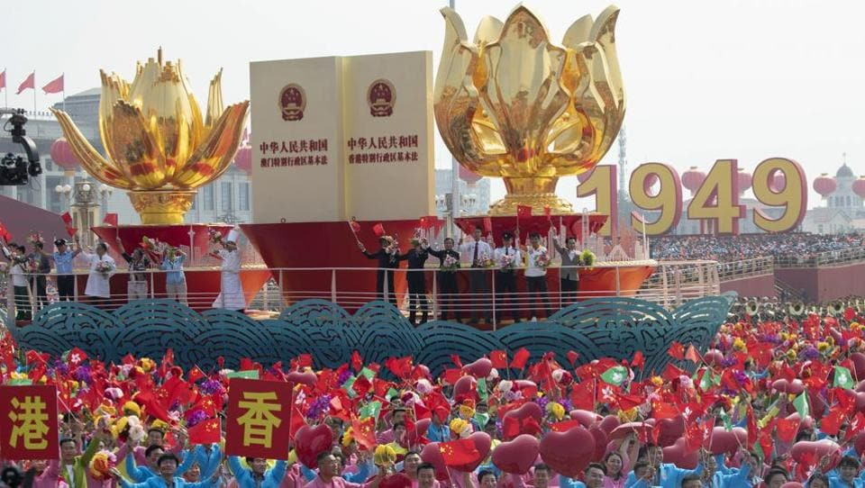 A float for Hong Kong takes part in a parade for the 70th anniversary of the founding of the People's Republic of China in Beijing. A colourful parade with 70 floats and 1,00,000 participants highlighting communist China's achievements followed a military parade in Beijing on the occasion. (Ng Han Guan / AP)