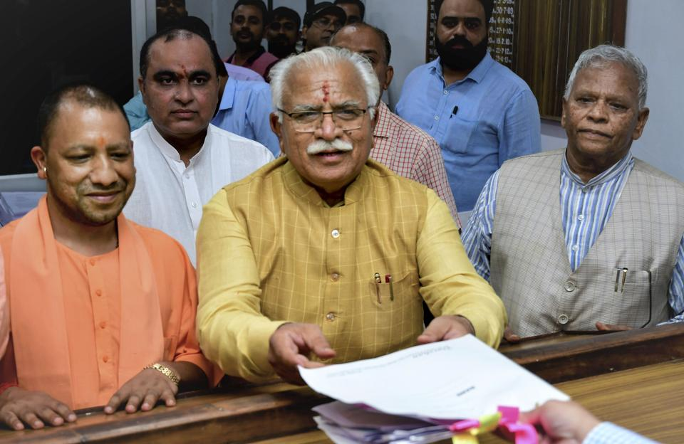 Haryana chief minister Manohar Lal Khattar files nominations from Karnal assembly seat at the SDM's Office, in Karnal onTuesday in the presence of UP chief minister Yogi Adityanath and Union minister Rattan Lal Kataria.