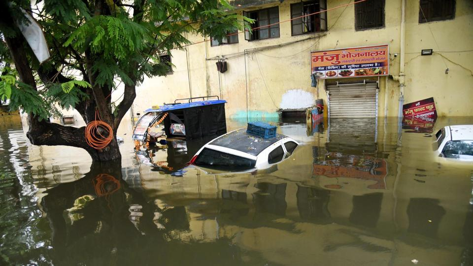 A flooded street in Rajendra Nagar area,  Patna,  on Monday, September 30, 2019.