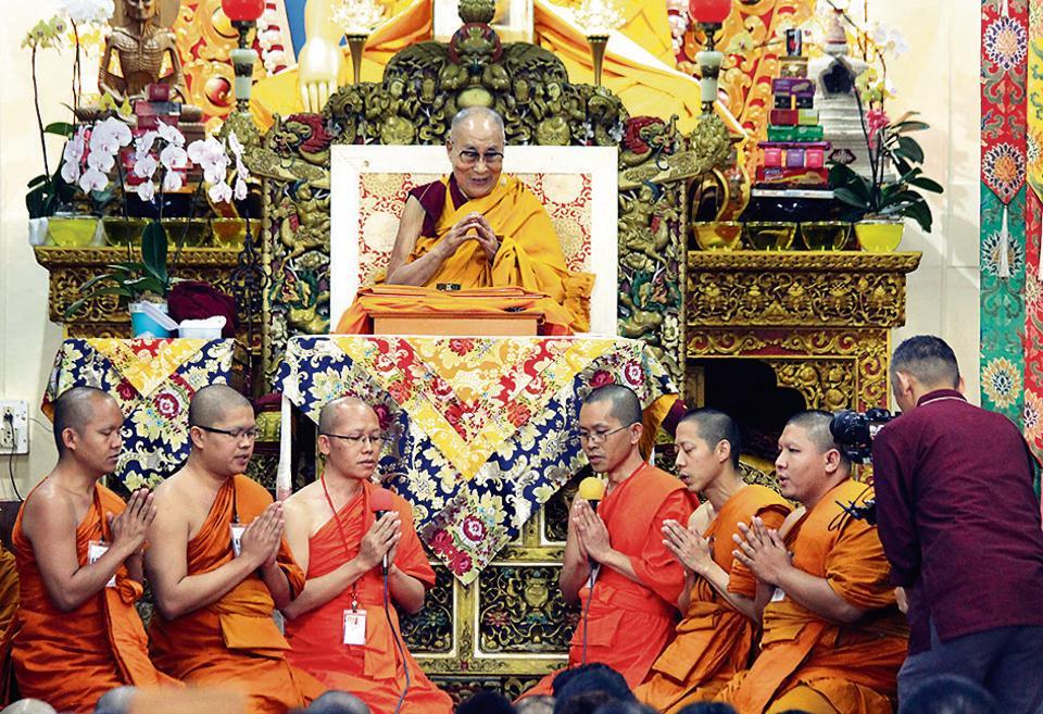 The Dalai Lama speaks at a Tibetan temple in McLeod Ganj.
