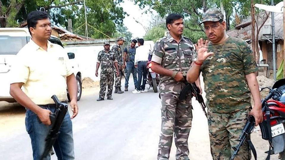 Seraikela-Kharsawan SP Chandan Sinha( in civil dress) visited Tiruldih PS and Kukdu Haat (market) on June 14 , 2019 where 5 policemen were massacred by Maoist extremists in Seraikela-Kharsawan on June 14 this year. The alleged mastermind Tabariqe Ansari has surrendered.