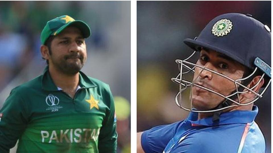 Pakistan captain Sarfaraz Ahmed and India's MS Dhoni