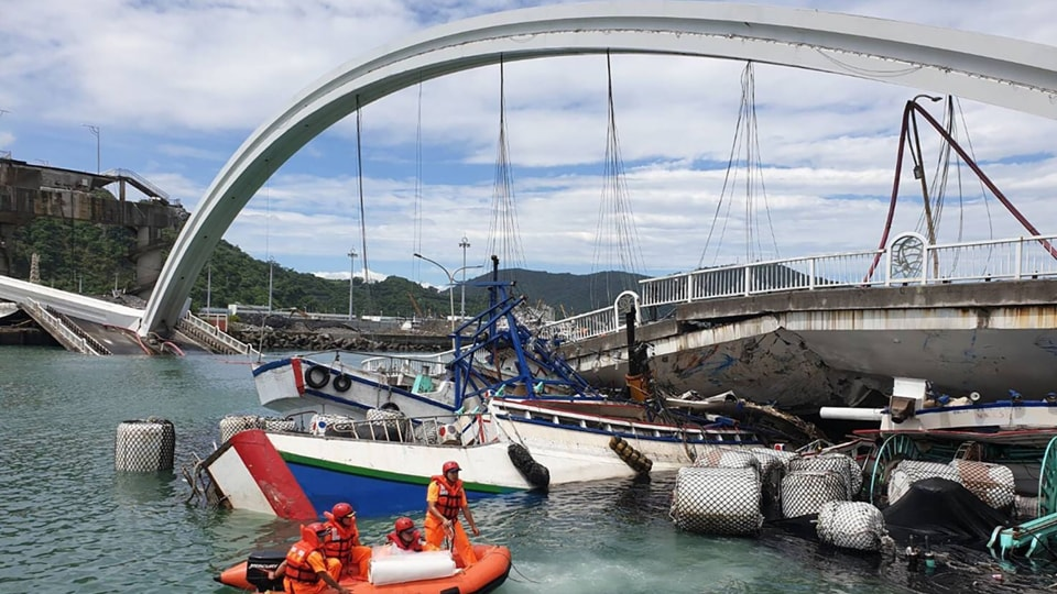 Ten people were taken to hospitals with injuries, including the Taiwanese driver of an oil tanker truck that fell off the bridge.