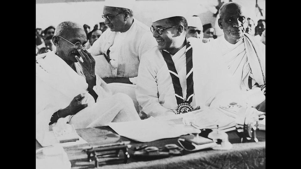 Gandhi and Bose during a political meeting in Haripura, March 02, 1938. Gandhi did not want Bose to have a second term as Congress president and when Bose won against Gandhi's chosen candidate Pattabhi Sitaramayya, Gandhi refused to cooperate with Bose in forming a working committee. This situation forced Bose to resign as president and eventually leave the Congress to form his own political party. (National Gandhi Museum)