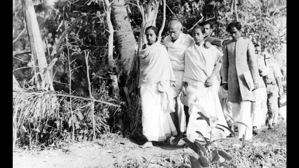 Gandhi touring Noakhali in 1946, as part of his peace mission. In 1947, while his lieutenants parleyed with the British regarding a truncated independence, Gandhi spent his time among the common people of Bengal, in riot-torn Noakhali in East Bengal and the violence-scarred city of Calcutta, trying to heal the wounds of religious violence and restoring communal harmony. (National Gandhi Museum)
