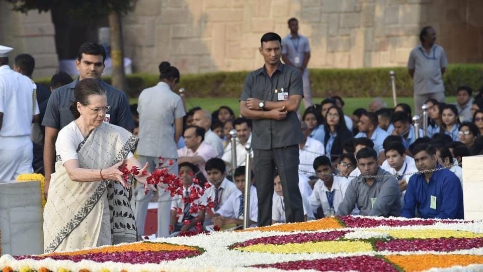 Congress President Sonia Gandhi paying homage to Mahatma Gandhi on his 150th Birth Anniversary at Rajghat on Wednesday