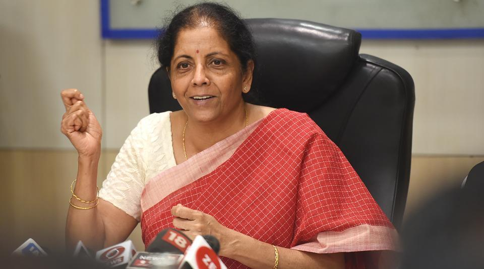 Finance Minister Nirmala Sitharaman at a press conference after her meeting with Private Sector Banks and other Financial Institutions in New Delhi on Thursday.