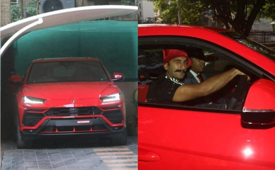 Ranveer Singh drives his new Lamborghini in Mumbai.