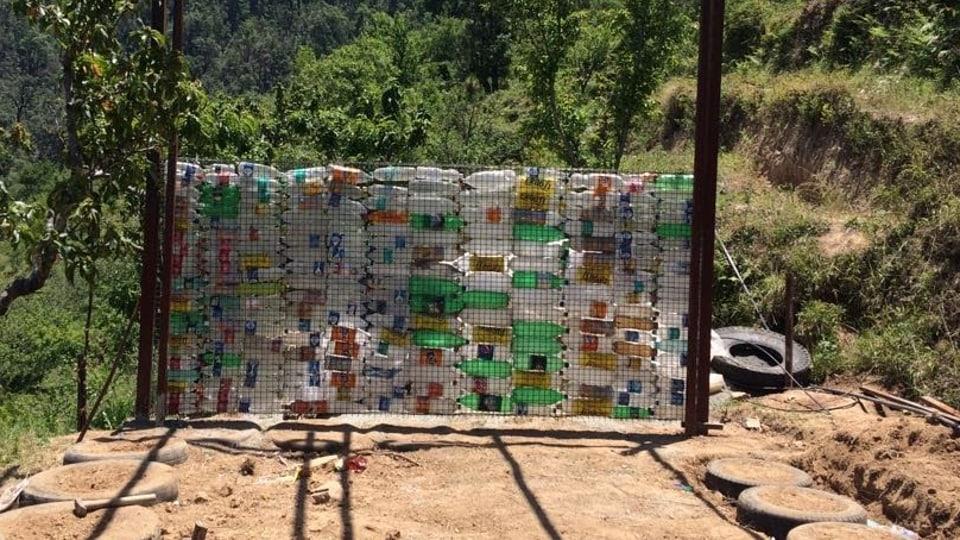 Plastic bottles used to build a homestay in Uttarakhand.