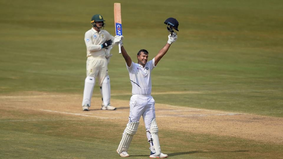 Image result for Mayank Agarwal first Test match against SA