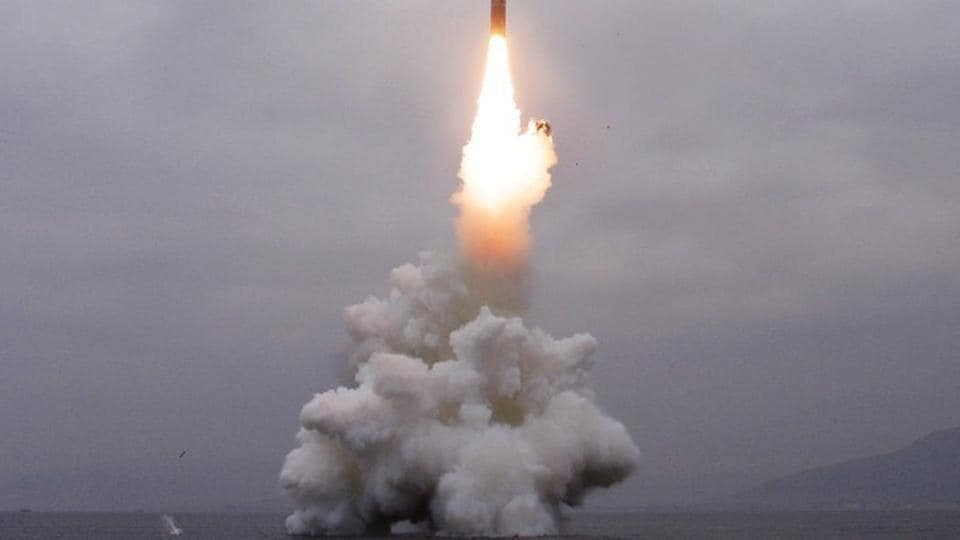 What appears to be a submarine-launched ballistic missile (SLBM) flies in an undisclosed location.