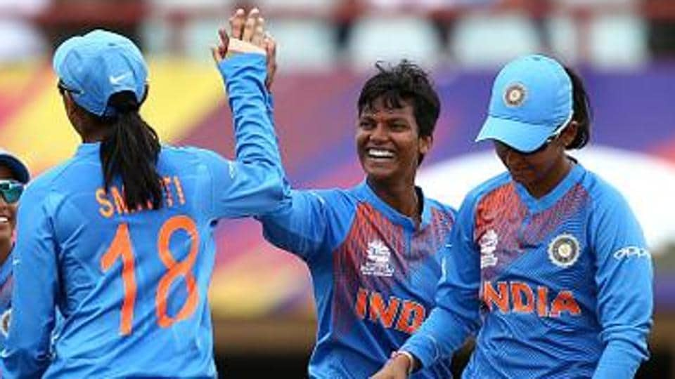 File image: Deepti Sharma of India celebrates her wicket with team mates
