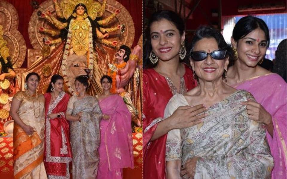 Kajol with mother Tanuja and sister Tanishaa Mukerji at a Durga Puja pandal in Juhu.