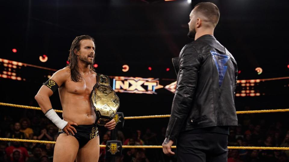 NXT champion Adam Cole confronted by Finn Balor.