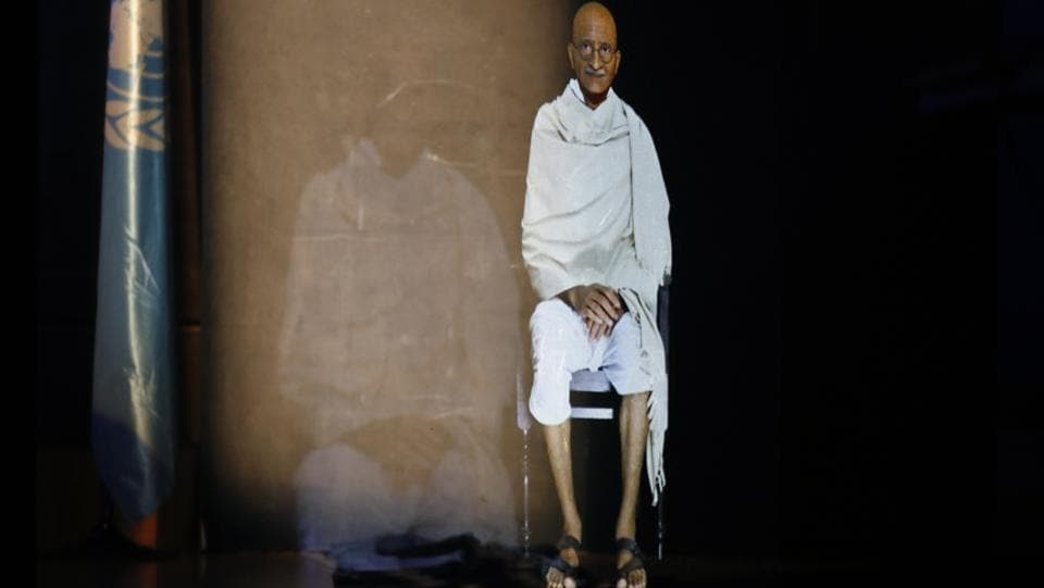 A hologram of Mahatma Gandhi speaks to the audience during a conference on the future of education, at the UNESCO headquarters, in Paris, France. (Thibault Camus / AP)