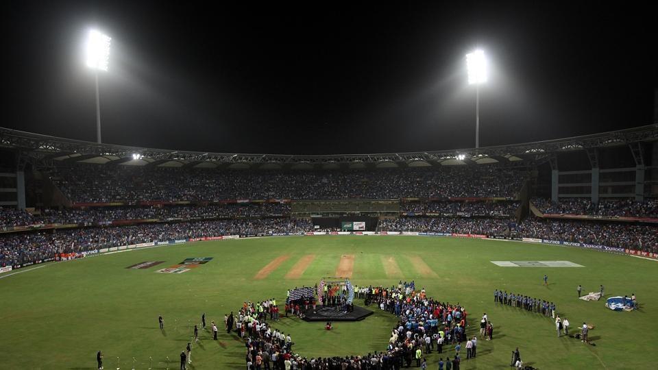 Aerial shot of Wankhede Stadium, the headquarters of the Mumbai Cricket Association.
