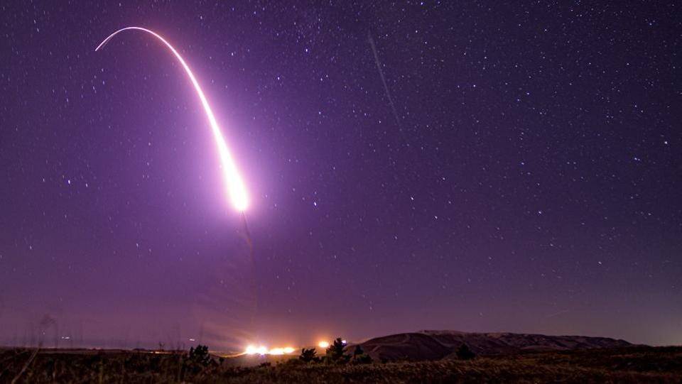 An unarmed Minuteman III intercontinental ballistic missile is launched during an operational test at 1:13 am Pacific Time, at Vandenberg Air Force Base, California, US. (JT Armstrong / US Air Force / AFP)