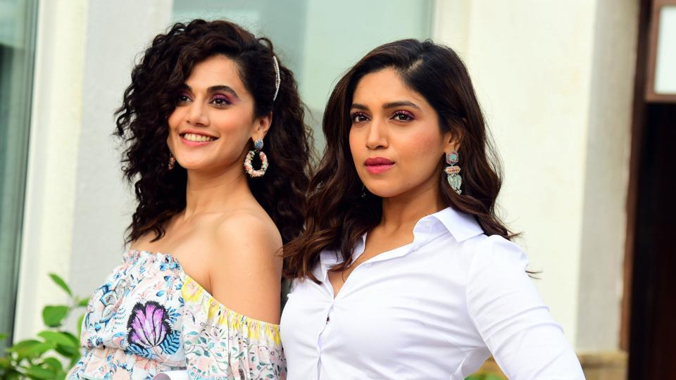 Taapsee Pannu (L) and Bhumi Pednekar during promotion of their upcoming film Saand Ki Aankh.