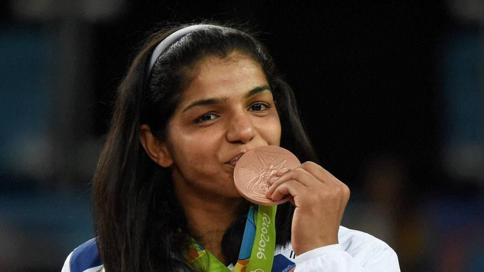 Sakshi Malik with her bronze medal during the Rio Olympics.