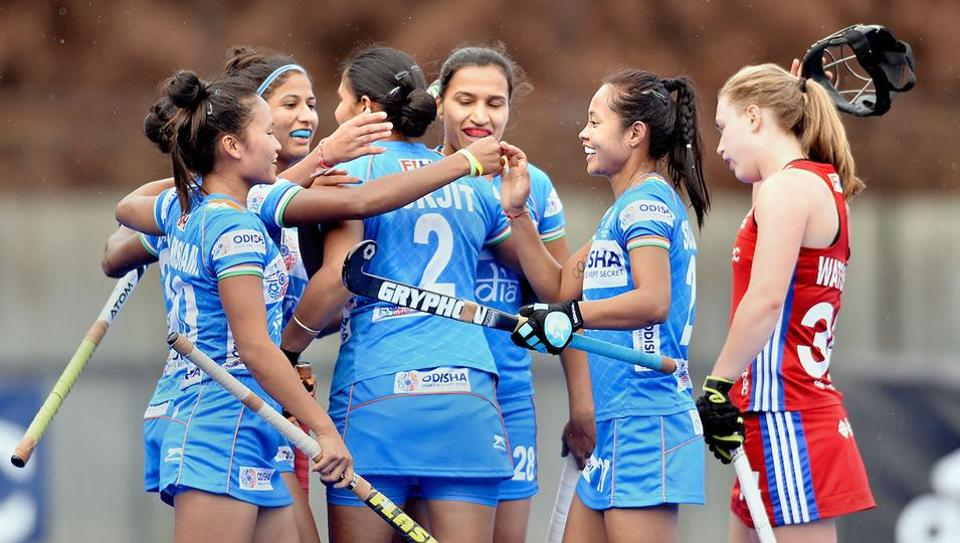 Indian hockey team players celebrate their draw against British team during their Tour of England.