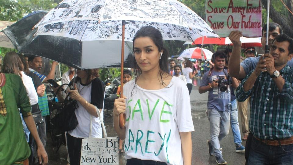 Shraddha Kapoor participates in a protest against cutting of trees in Aarey forest on Sep 1, 2019.