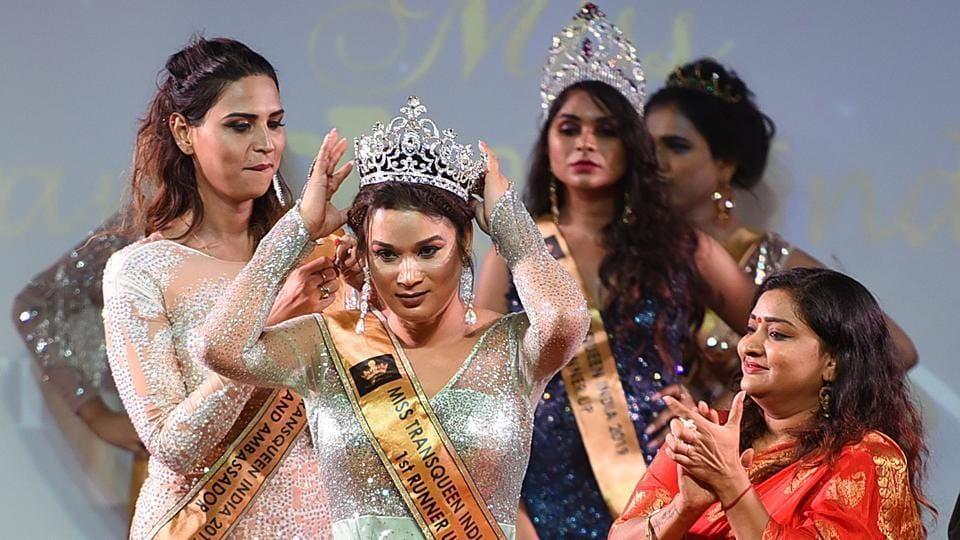 Shelly Rai from Chhattisgarh is crowned after she was adjudged the first runner-up. The second runner-up of the contest was Bonita from Jodhpur. The pageant witnessed the participation of transwomen from all over India, from cities like Mumbai, Chhattisgarh, New Delhi, Bangalore, Udaipur, Kolkata, Chennai, among others. (Raj K Raj / HT Photo)