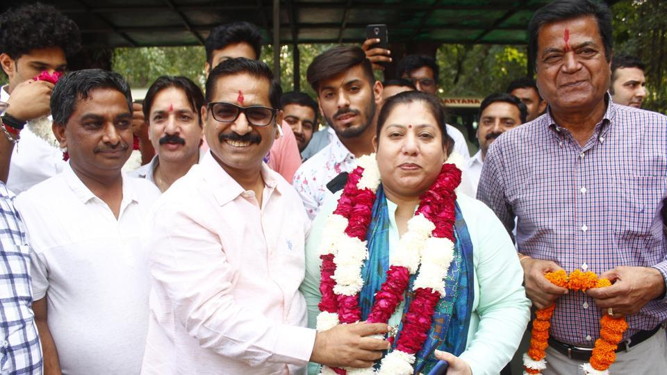 Independent candidate Seema Pahuja from Gurugram constituency files nomination for the upcoming Haryana Assembly election.