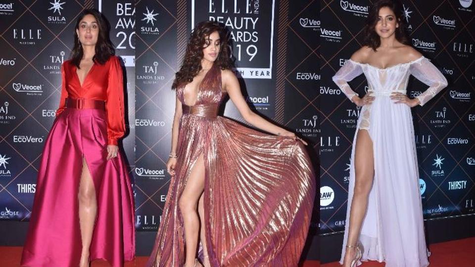 Kareena Kapoor, Janhvi Kapoor and Anushka Sharma at Elle Beauty Awards.