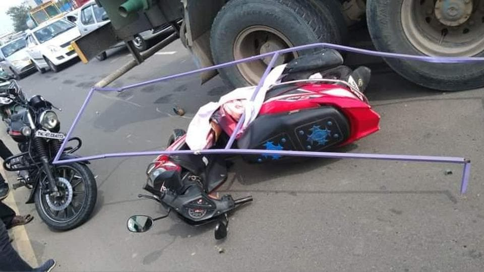 R Subhashree was on her two-wheeler when a hoarding installed by an AIADMK functionary in south Chennai fell on her. She lost her balance, fell on the road and was crushed to death by a water tanker.