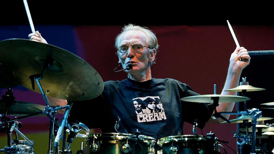 Drummer Ginger Baker of the Legendary supergroup Cream performs during a concert at the Royal Albert Hall in London, Britain May 2, 2005.