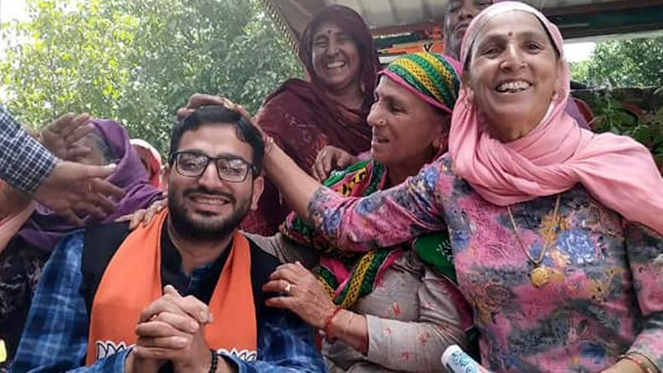 BJP candidate from Dharamshala Vishal Nehria during a poll campaigning in Kangra on Sunday.