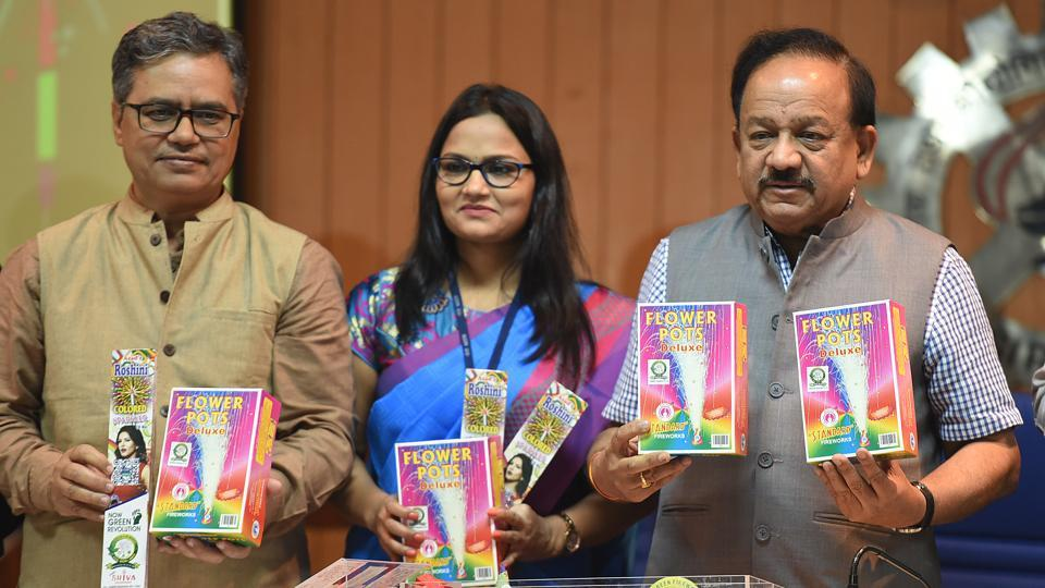 Union minister of health and family welfare Harsh Vardhan launched green crackers, in New Delhi, India, on Saturday, October 5, 2019.