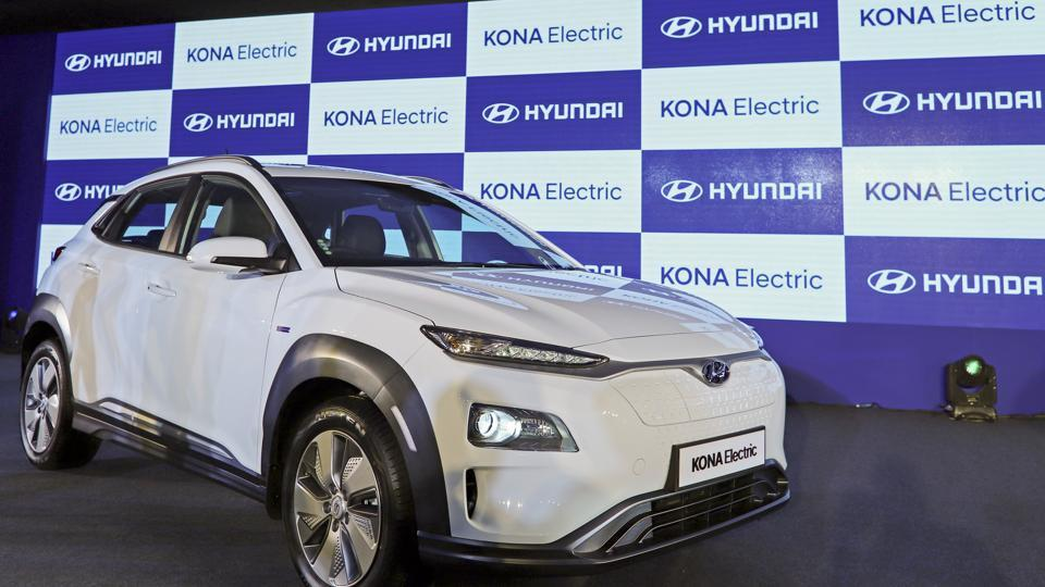 The Hyundai Motor Co. Kone electric compact sports utility vehicle (SUV) stands on display during the vehicle's launch,  on Tuesday, July 9, 2019.