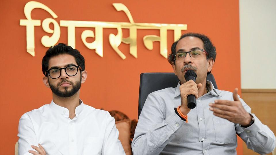 Shiv Sena party chief Uddhav Thackeray with his son Aaditya Thackeray