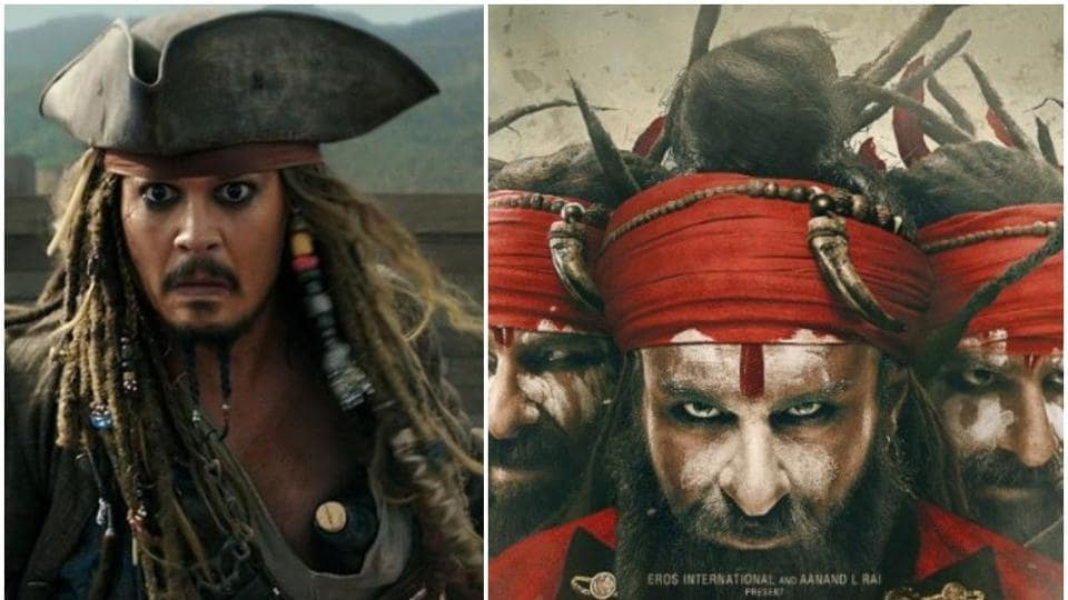Saif Ali Khan in a new poster from his film, Laal Kaptaan and Johnny Depp (left) in a still from Pirates of the Caribbean.