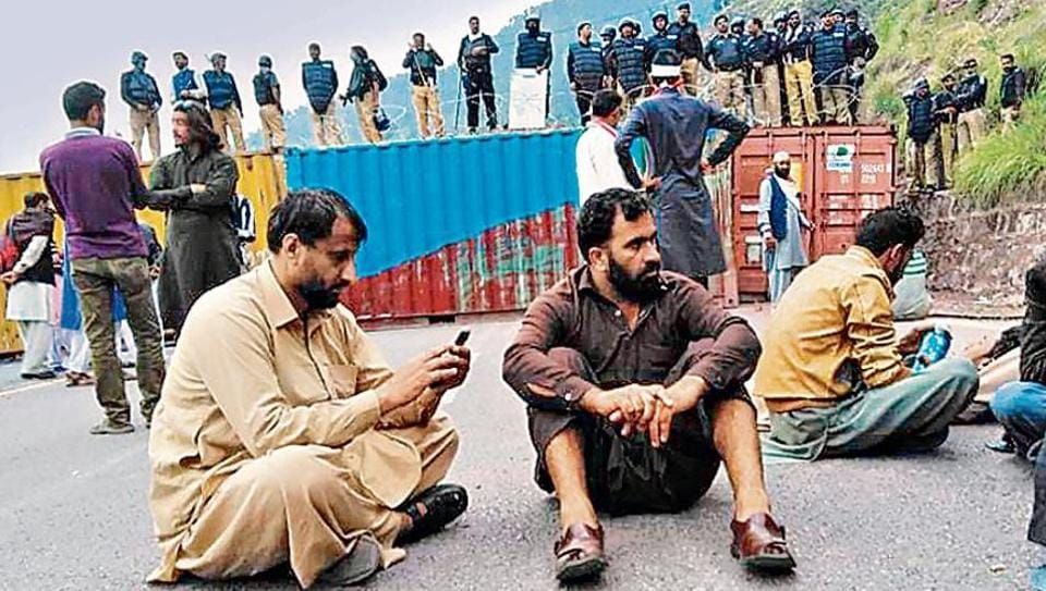 JKLF supporters were stopped near LoC as PoK police put shipping containers to block the roads.