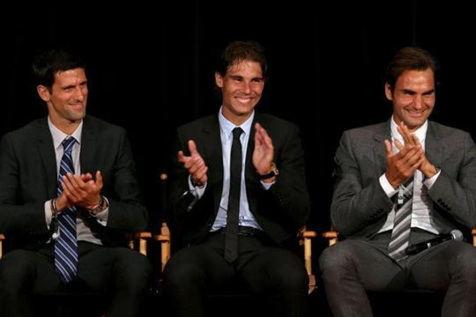 Novak Djokovic of Serbia; Rafael Nadal of Spain and Roger Federer of Switzerland on stage during the ATP Heritage Celebration at The Waldorf, Astoria.