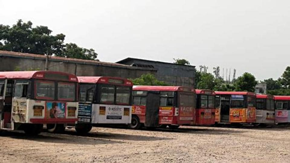 Buses stand at as TSRTC employees are on an indefinite strike demanding fulfilment of various demands including RTC merger with the Government, in Hyderabad.